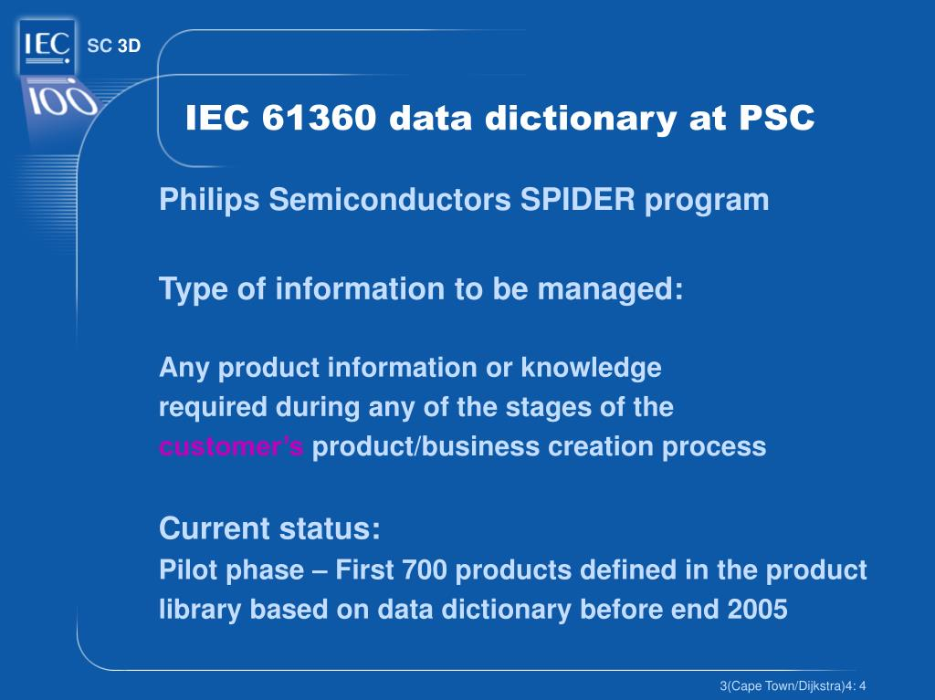 IEC 61360 data dictionary at PSC