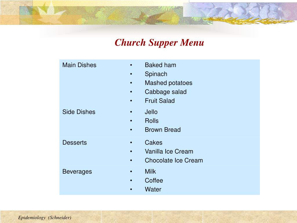 Church Supper Menu