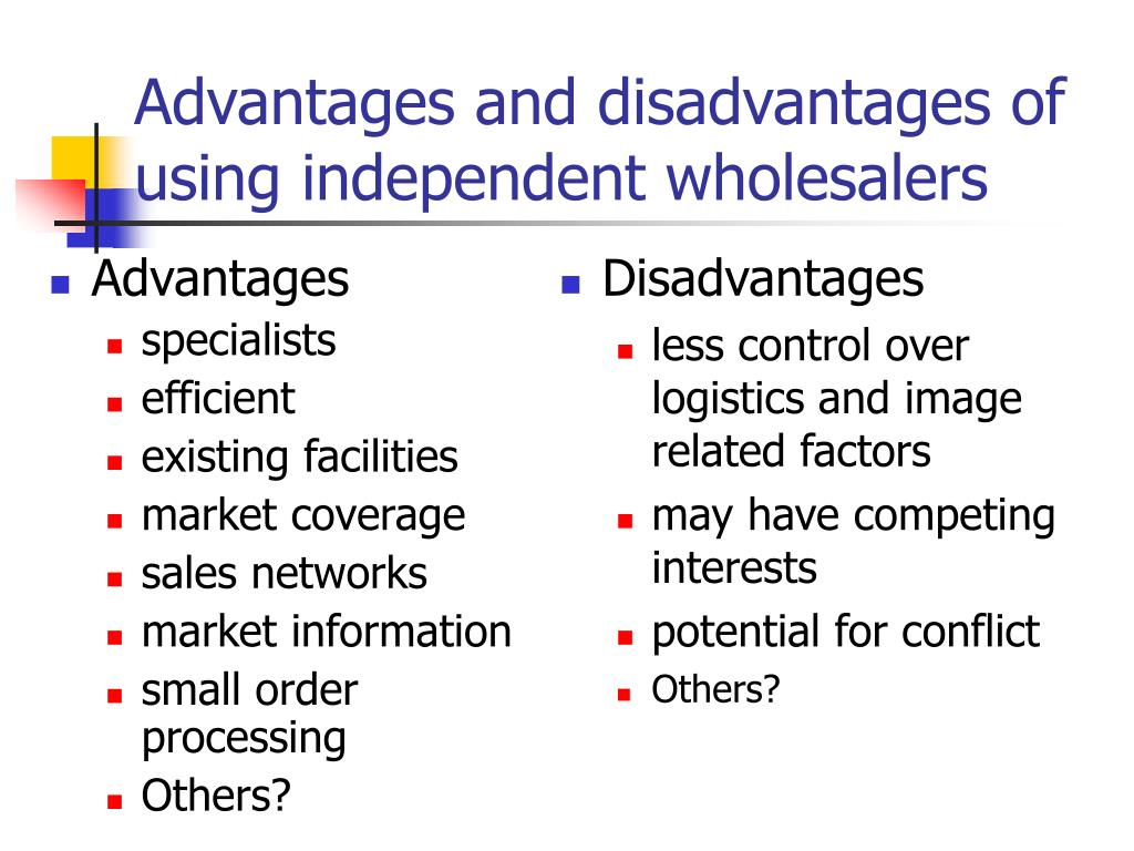 Advantages and disadvantages of using independent wholesalers
