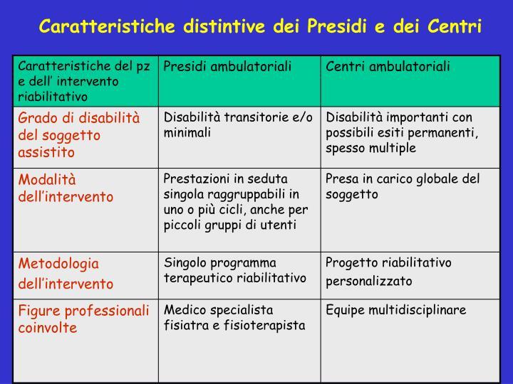 Caratteristiche distintive dei Presidi e dei Centri