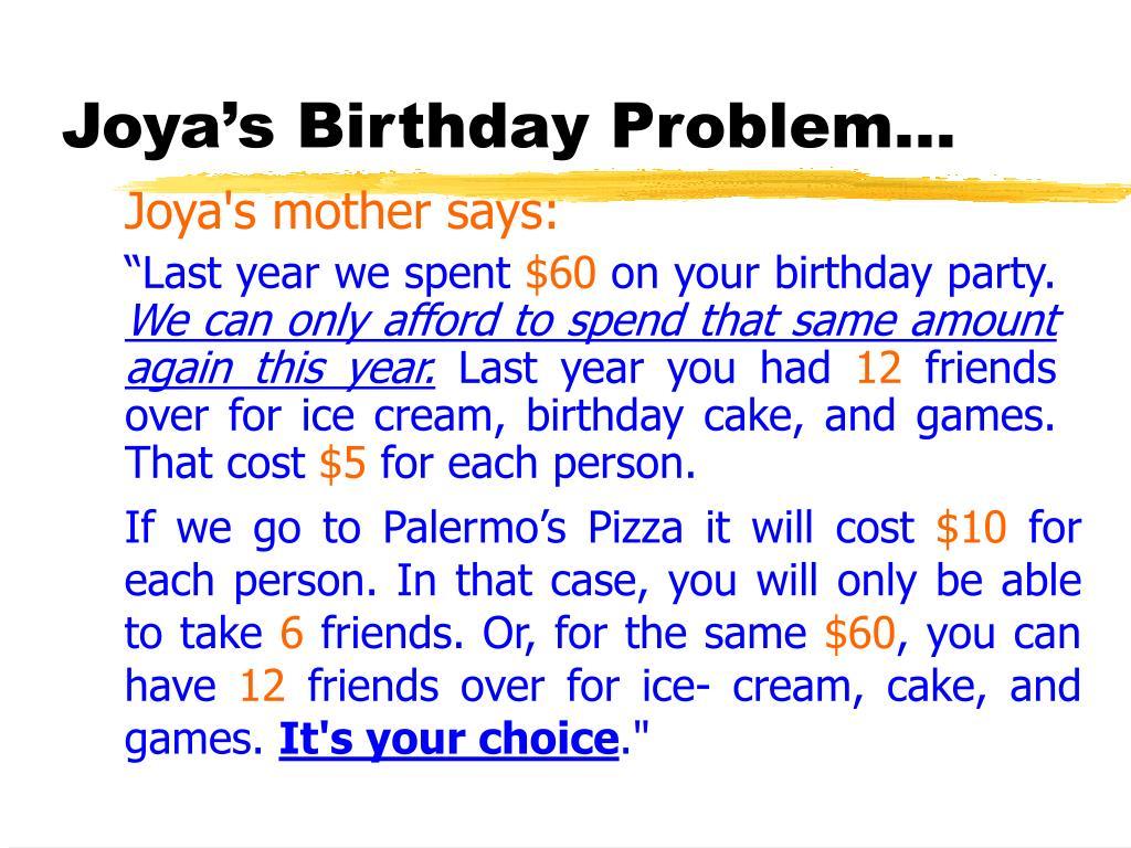 Joya's Birthday Problem…