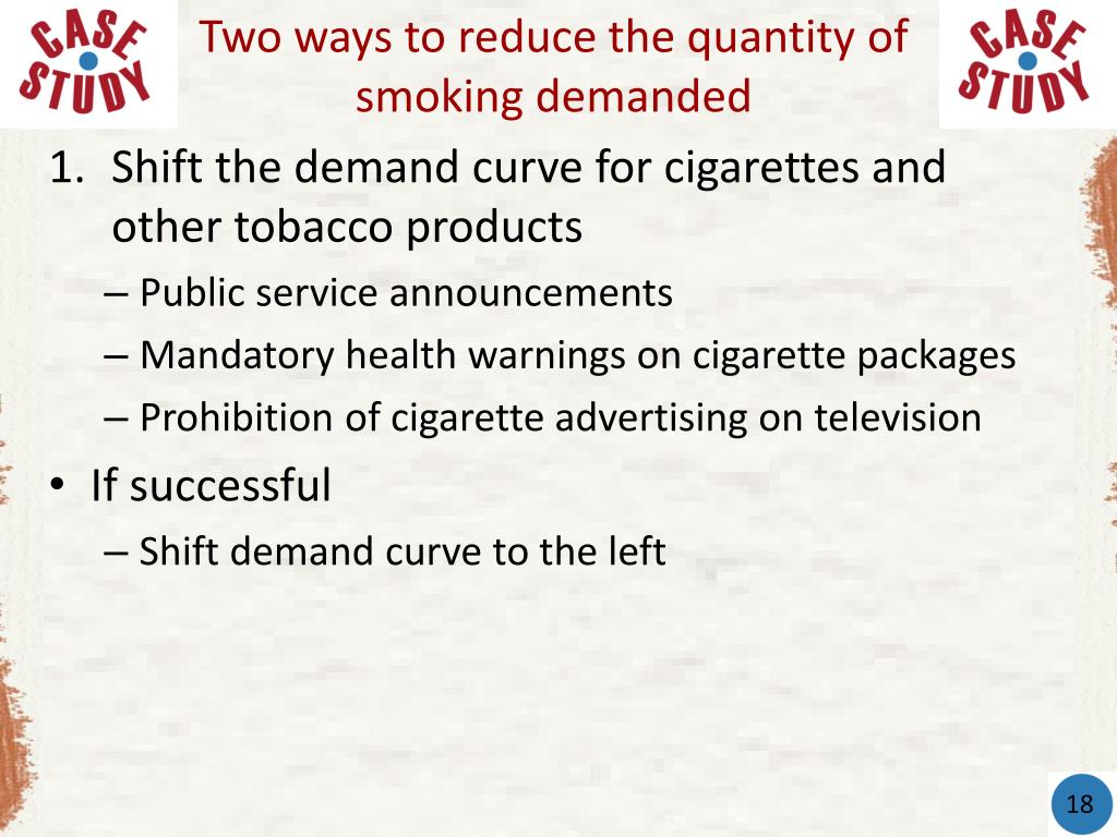 Two ways to reduce the quantity of smoking demanded