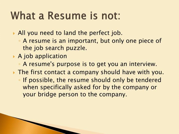 What a resume is not