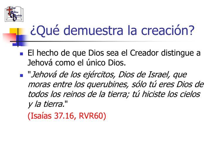 ¿Qué demuestra la creación?