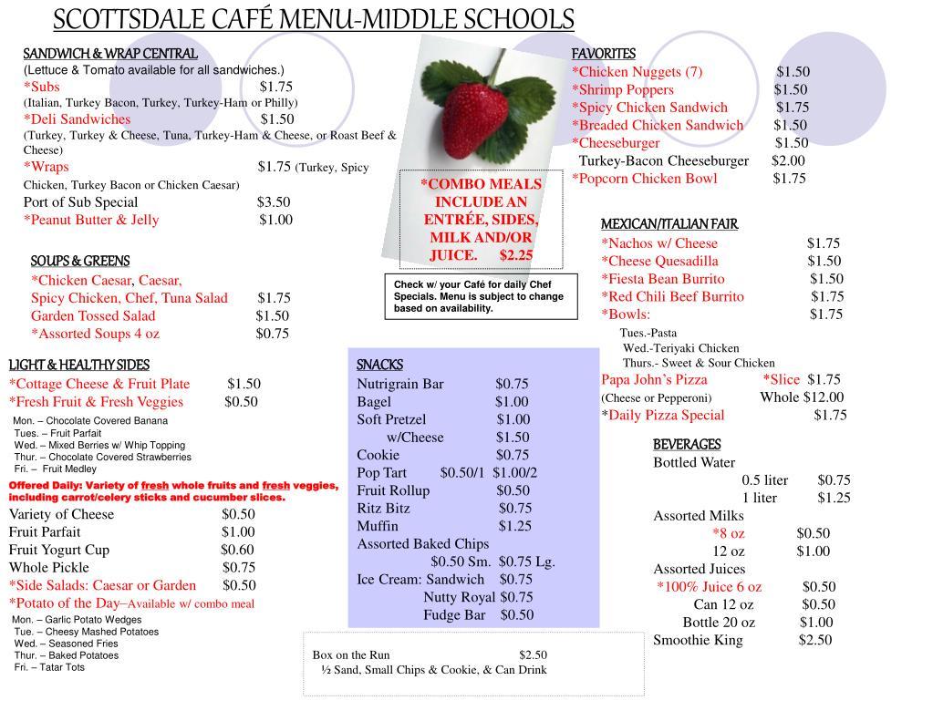 SCOTTSDALE CAFÉ MENU-MIDDLE SCHOOLS