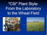 csi plant style from the laboratory to the wheat field