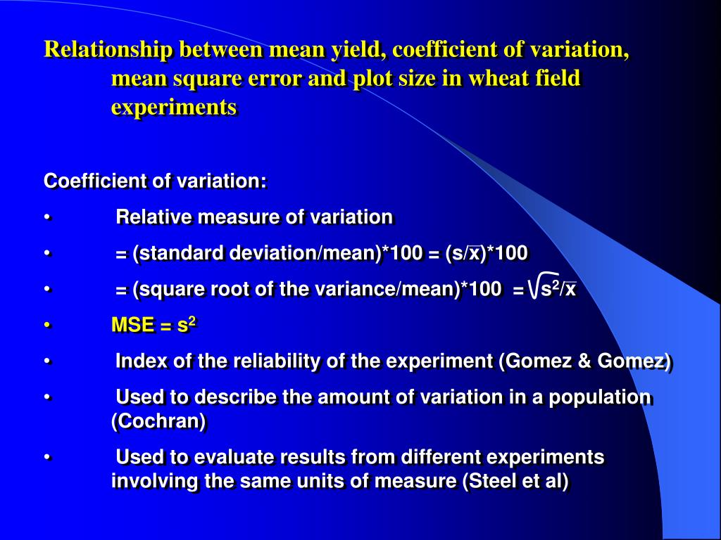 Relationship between mean yield, coefficient of variation, mean square error and plot size in wheat field experiments