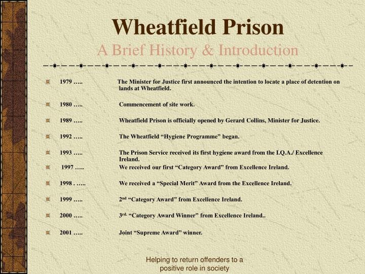 Wheatfield prison a brief history introduction