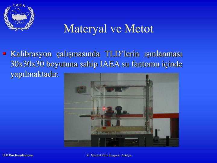 Kalibrasyon çalışmasında TLD'lerin ışınlanması 30x30x30 boyutuna sahip IAEA su fantomu içinde yapılmaktadır