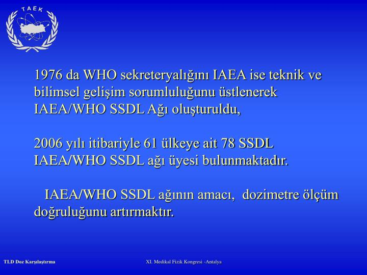 1976 da WHO sekreteryalığını IAEA ise teknik ve bilimsel gelişim sorumluluğunu üstlenerek IAEA/WHO SSDL Ağı oluşturuldu,