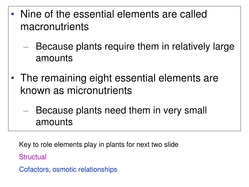 Nine of the essential elements are called macronutrients