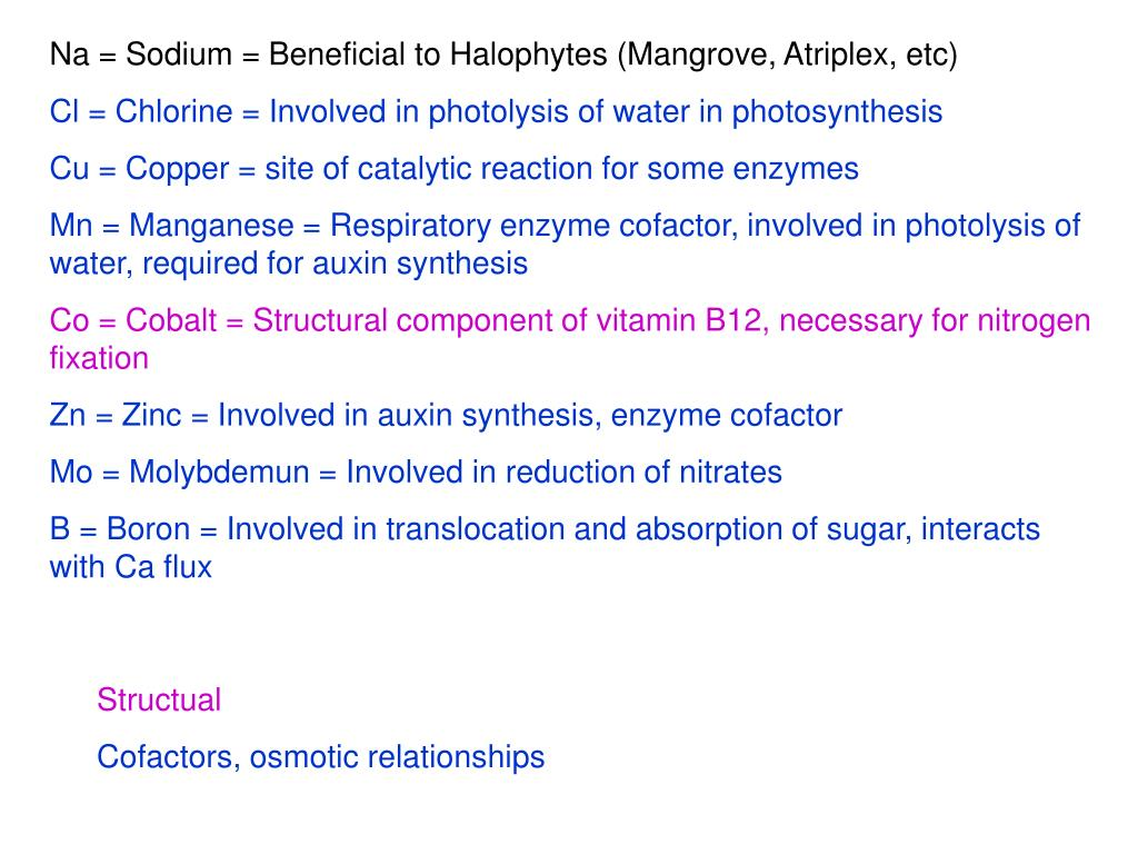 Na = Sodium = Beneficial to Halophytes (Mangrove, Atriplex, etc)