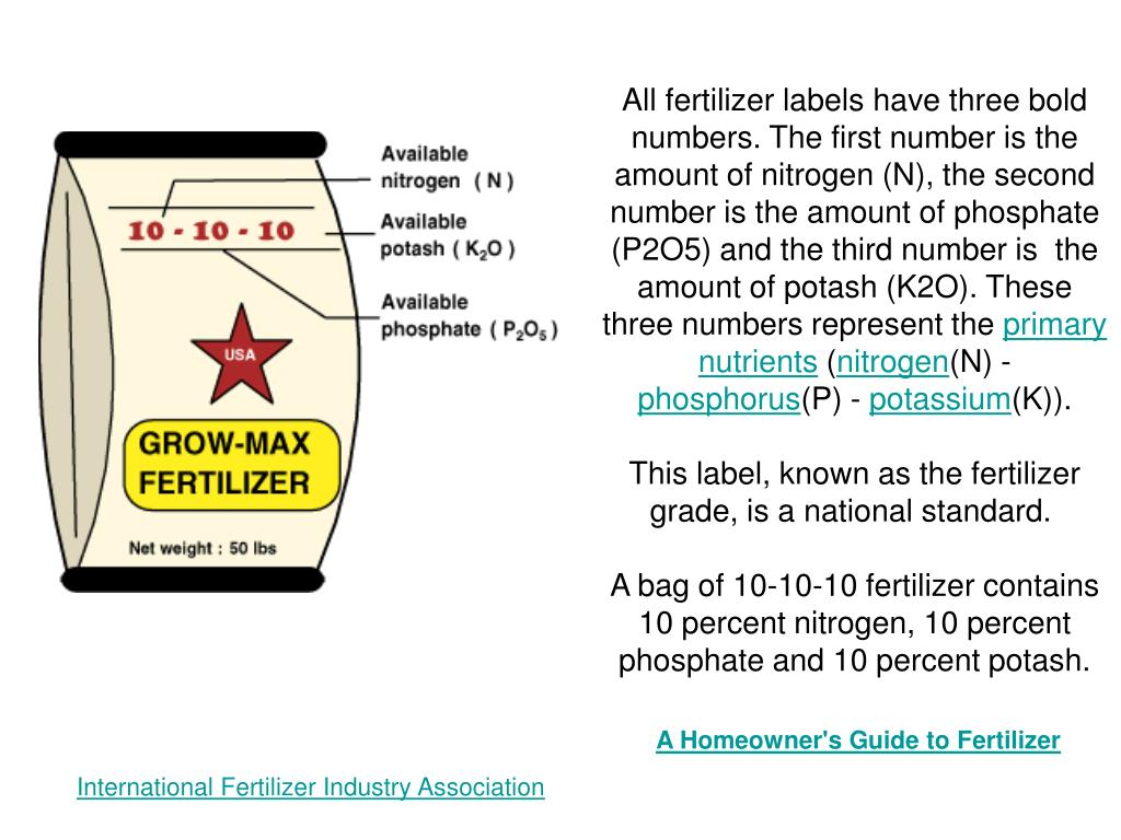 All fertilizer labels have three bold numbers. The first number is the amount of nitrogen (N), the second number is the amount of phosphate (P2O5) and the third number is  the amount of potash (K2O). These three numbers represent the