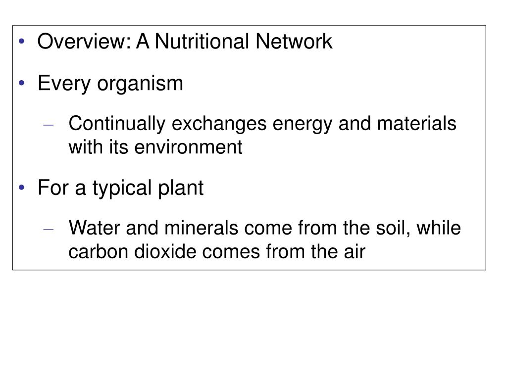 Overview: A Nutritional Network