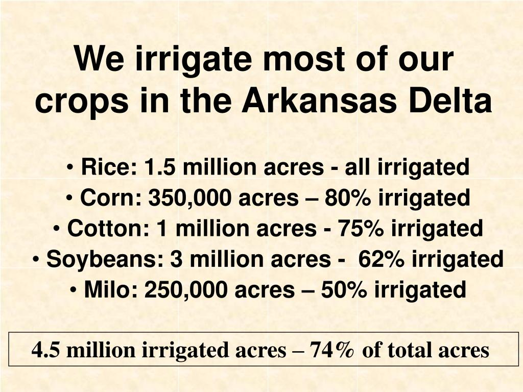 We irrigate most of our crops in the Arkansas Delta