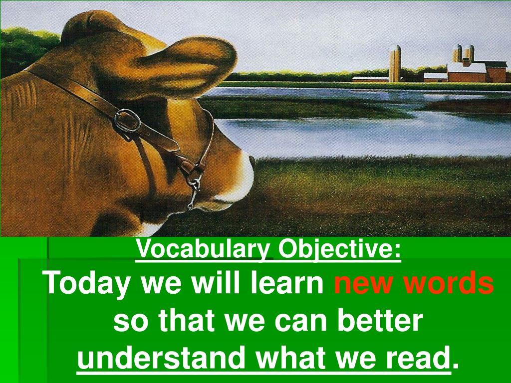 Vocabulary Objective: