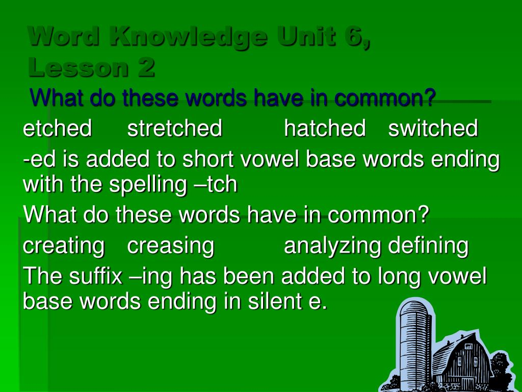 Word Knowledge Unit 6, Lesson 2