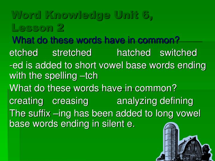 Word knowledge unit 6 lesson 2