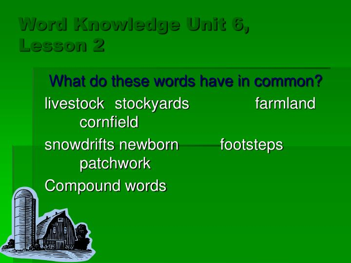 Word knowledge unit 6 lesson 23