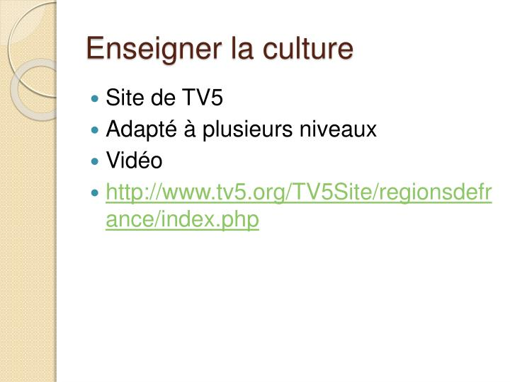 Enseigner la culture