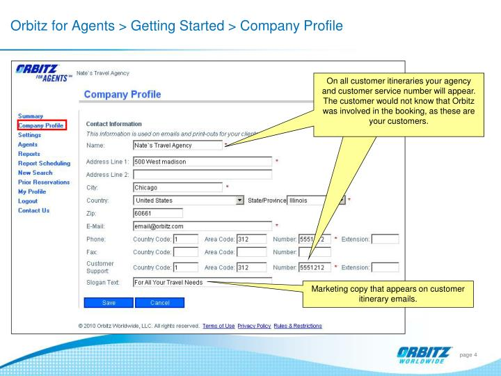 Orbitz for Agents > Getting Started > Company Profile