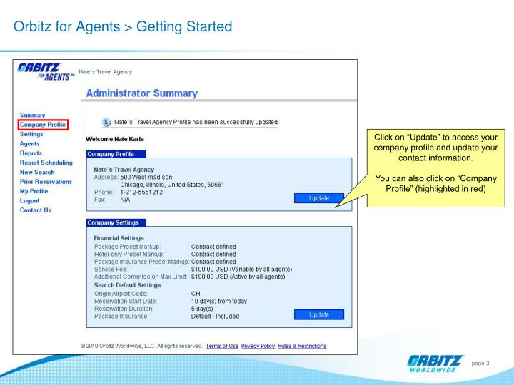 Orbitz for Agents > Getting Started