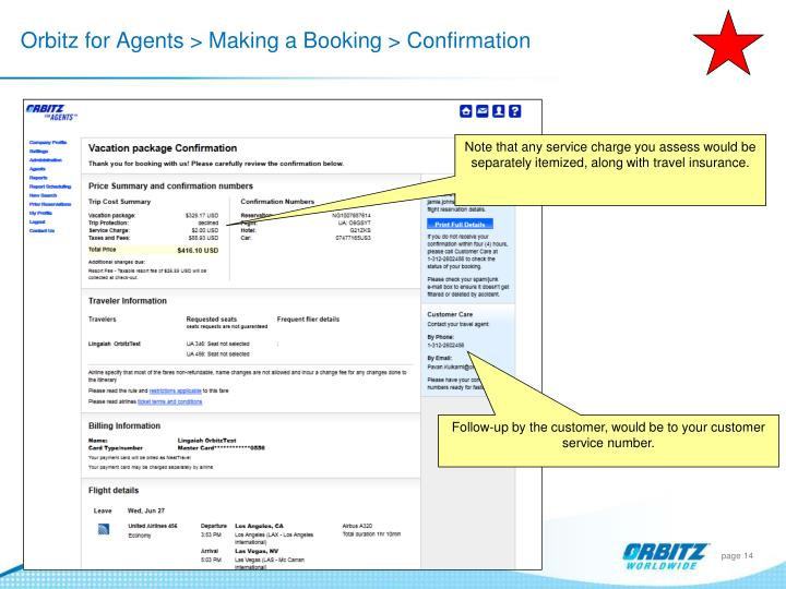 Orbitz for Agents > Making a Booking > Confirmation