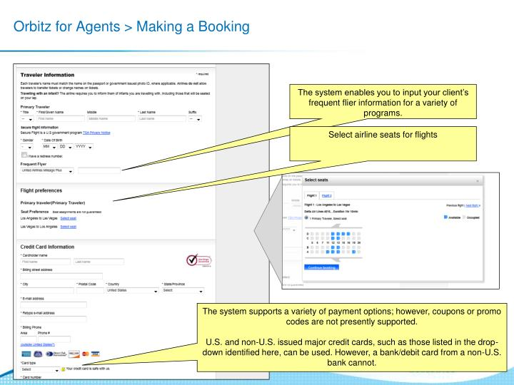 Orbitz for Agents > Making a Booking