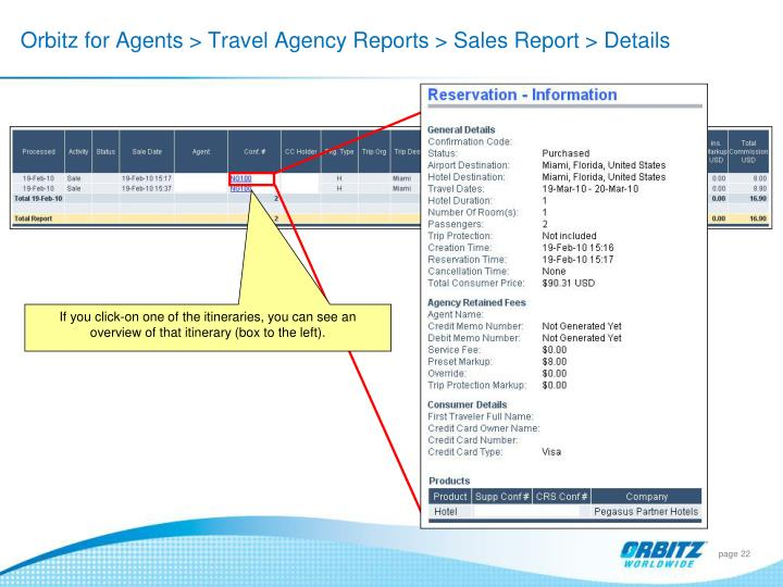 Orbitz for Agents > Travel Agency Reports > Sales Report > Details