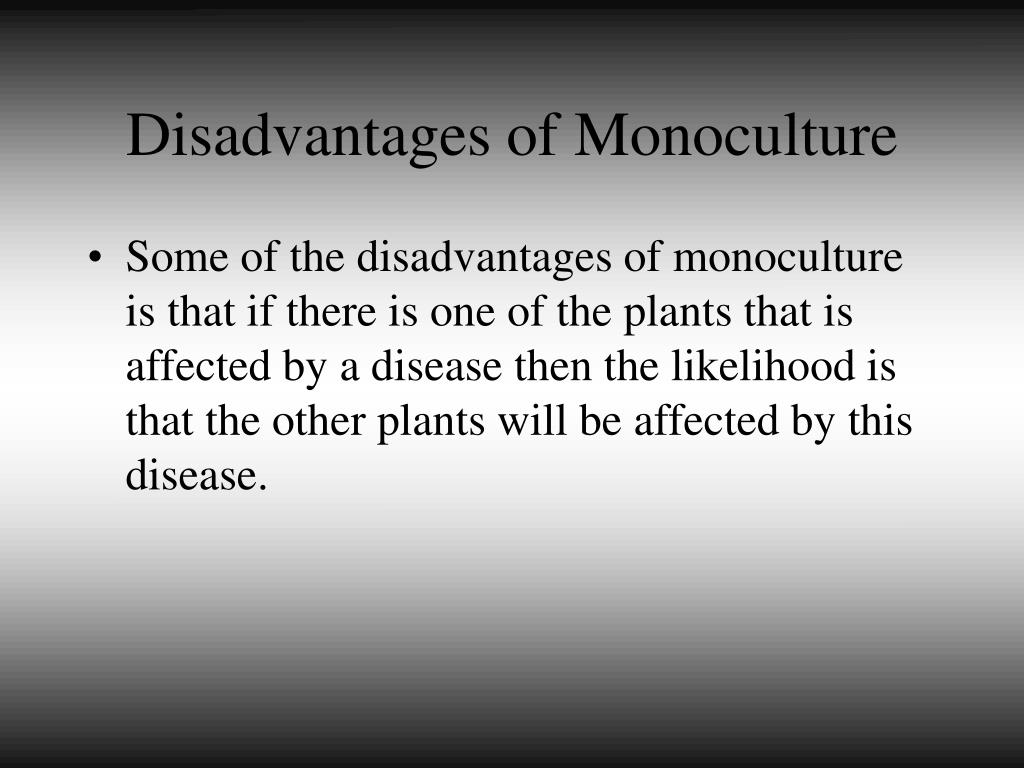 Disadvantages of Monoculture