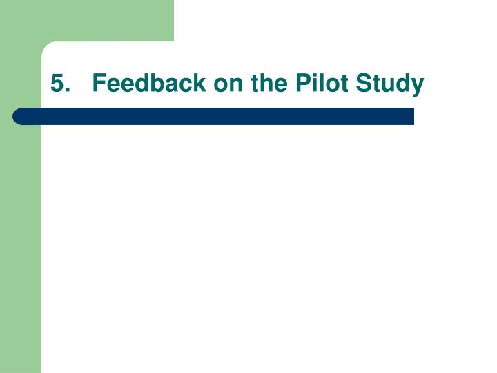 5.   Feedback on the Pilot Study