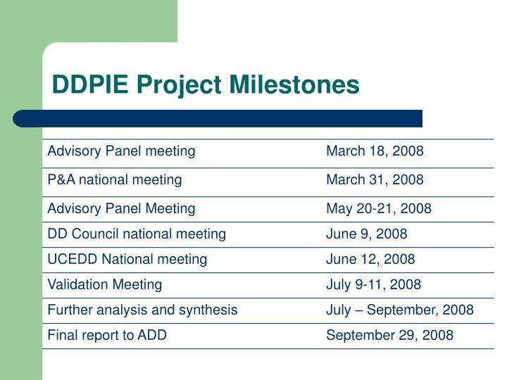 DDPIE Project Milestones