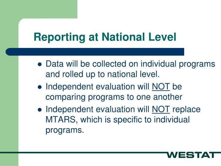 Reporting at National Level