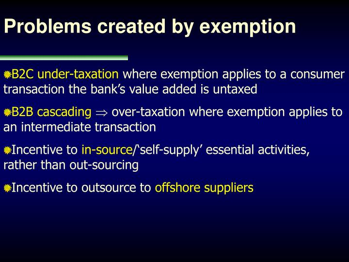 Problems created by exemption