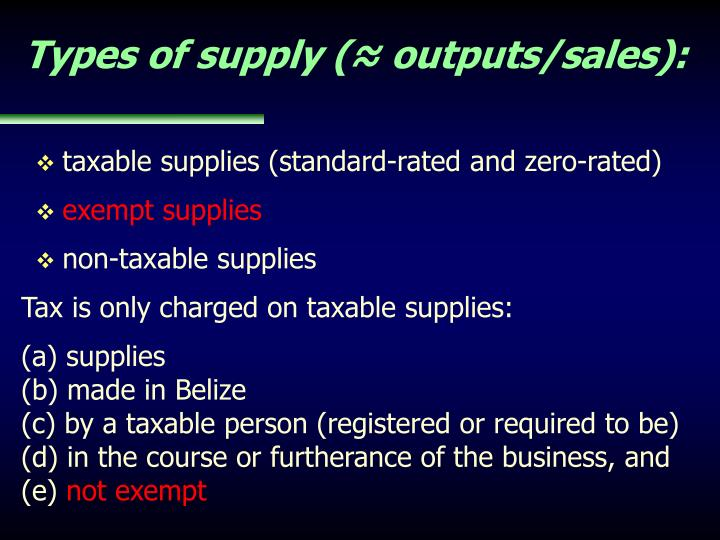 Types of supply (