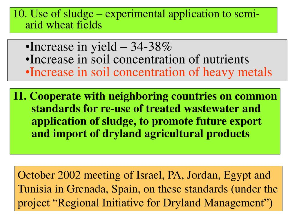 10. Use of sludge – experimental application to semi-arid wheat fields