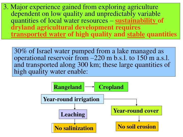 3. Major experience gained from exploring agriculture dependent on low quality and unpredictably var...