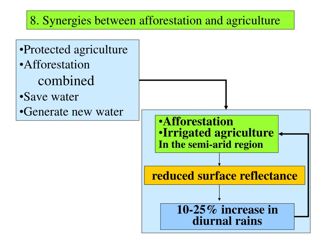 8. Synergies between afforestation and agriculture
