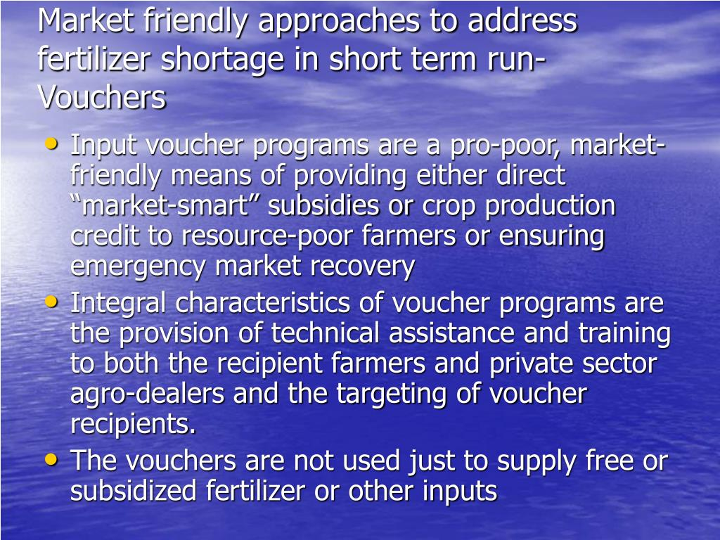 Market friendly approaches to address fertilizer shortage in short term run-Vouchers