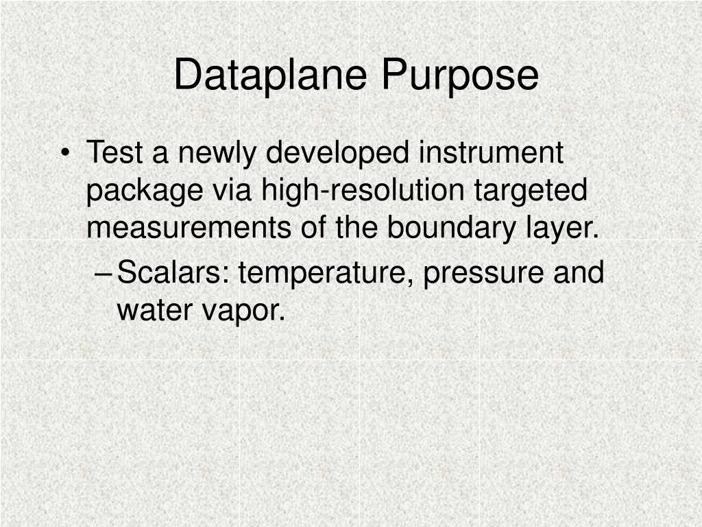 Dataplane Purpose