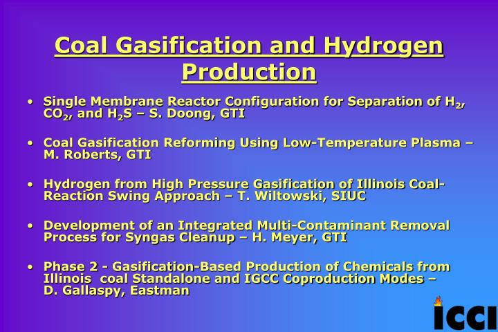 Coal Gasification and Hydrogen Production