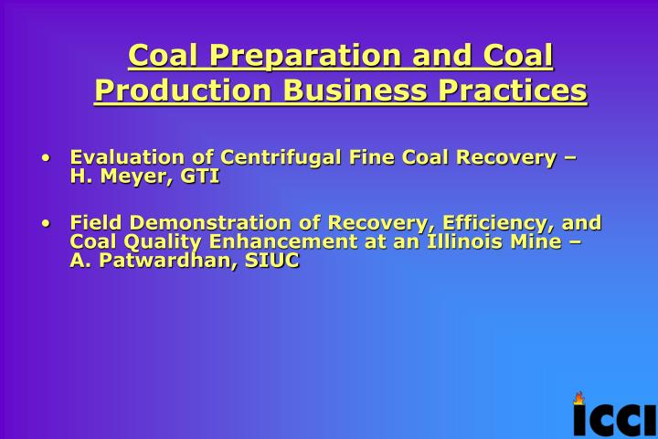 Coal Preparation and Coal Production Business Practices