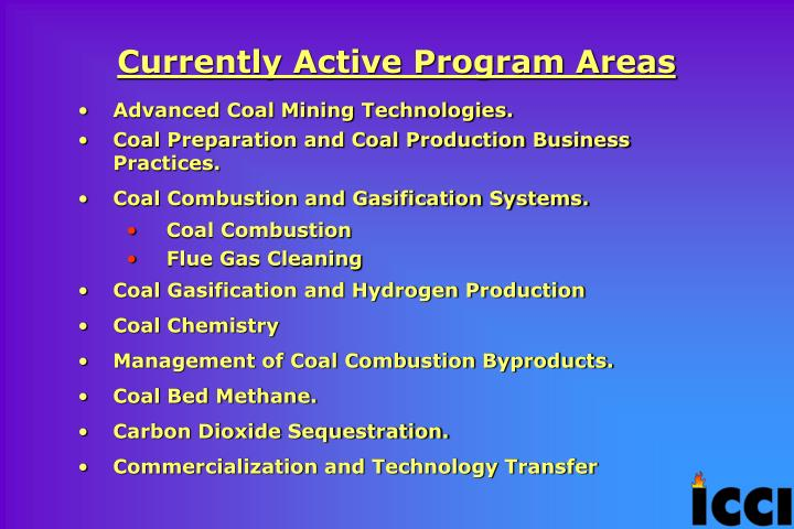 Currently Active Program Areas