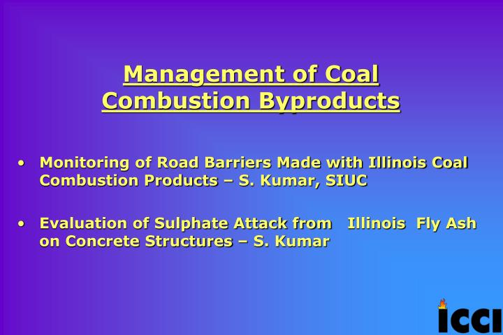 Management of Coal Combustion Byproducts