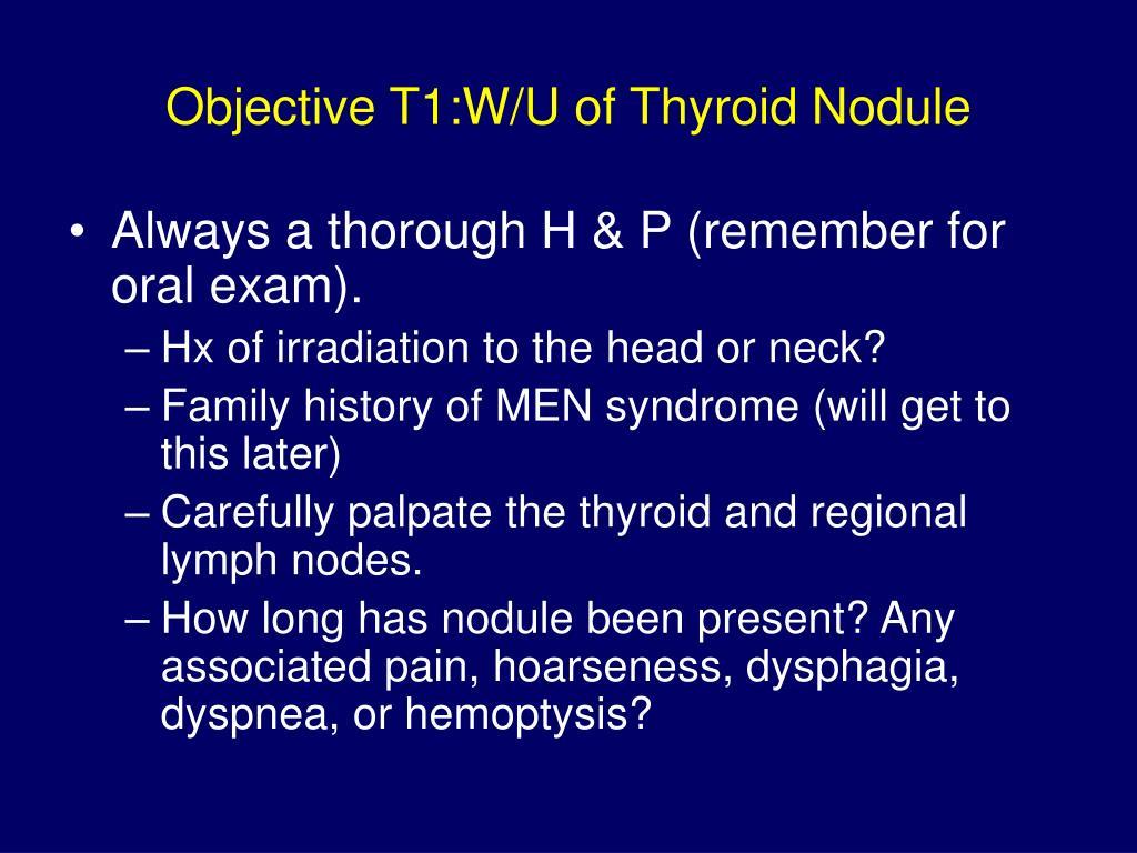 Objective T1:W/U of Thyroid Nodule