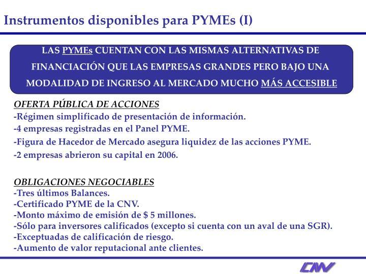 Instrumentos disponibles para PYMEs (I)