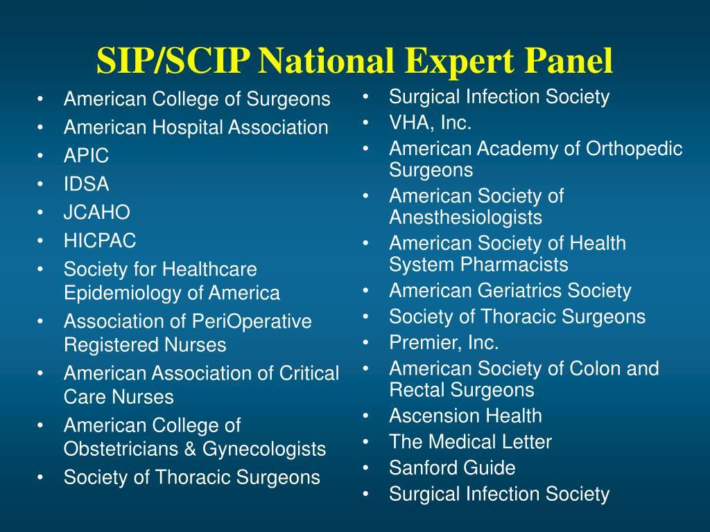 SIP/SCIP National Expert Panel
