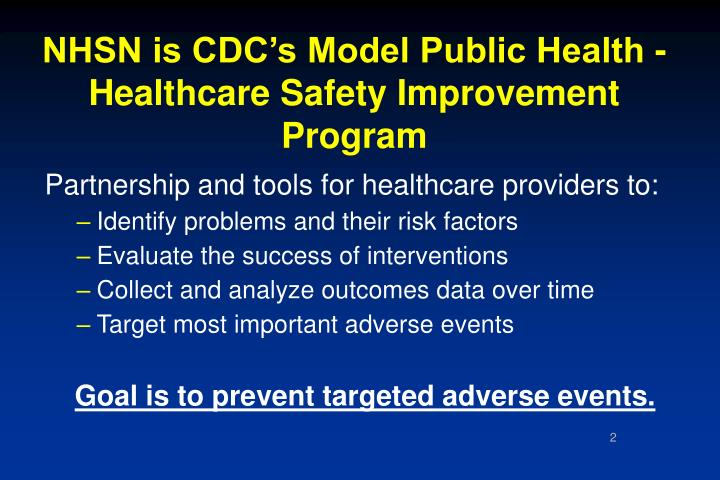 Nhsn is cdc s model public health healthcare safety improvement program