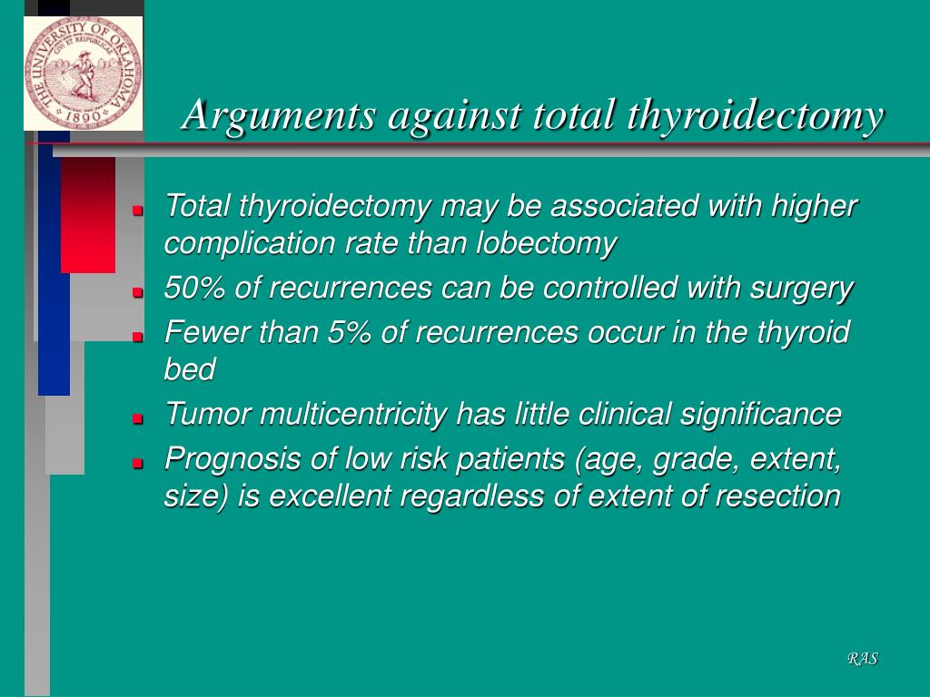 Arguments against total thyroidectomy