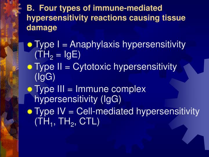 B.  Four types of immune-mediated hypersensitivity reactions causing tissue damage